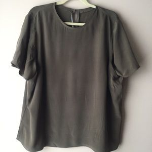 Tops - Army green silk blouse